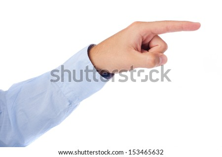hand pointing right on a white background - stock photo
