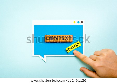 Hand pointing speech bubble with context button and content label. Context Marketing concept.