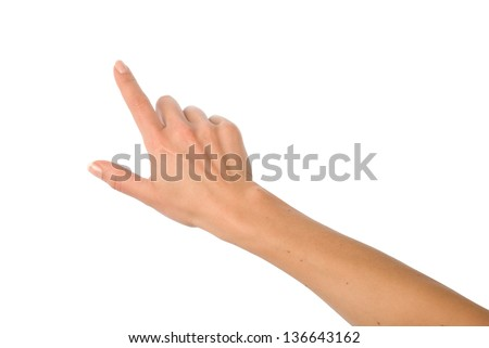 Hand pointing, touching or pressing isolated on white. - stock photo