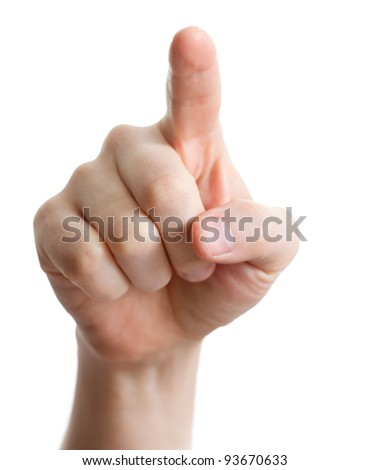 hand pointing, touching or pressing isolated on white. Caucasian male - stock photo