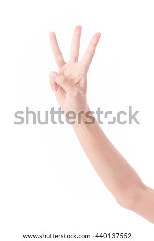 hand pointing up 3 finger gesture - stock photo