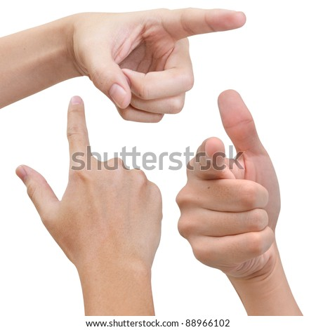 Hand poiting something in various poses - stock photo