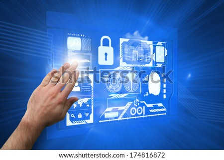 Hand presenting against shiny cogs on blue background - stock photo