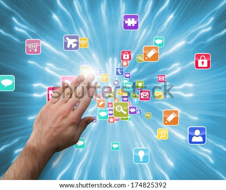 Hand presenting against strands of blue lights - stock photo