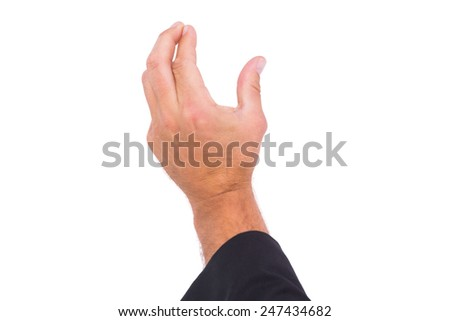 Hand presenting on white background