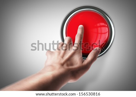 hand press on big Red button High resolution. 3D image  - stock photo