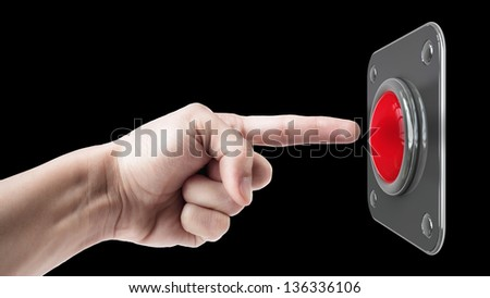 hand press on big Red button isolated on black background - stock photo
