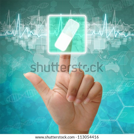 Hand press on capsule Symbol ,medical icon - stock photo