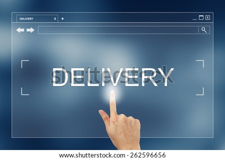 hand press on delivery button on webpage - stock photo