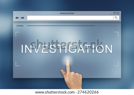 hand press on investigation button on webpage - stock photo
