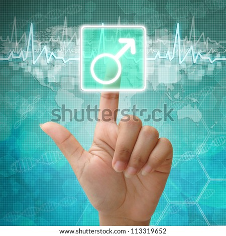 Hand press on Male Symbol ,medical icon - stock photo