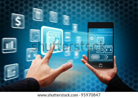 Hand press on news button from mobile phone - stock photo