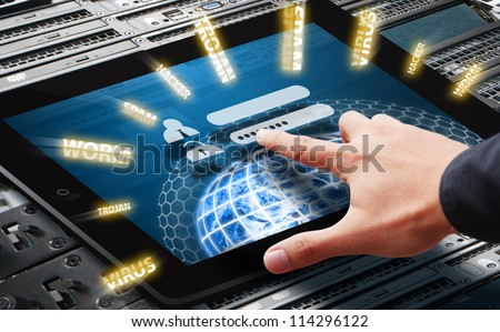 Hand press on password request to protect the digital world : Elements of this image furnished by NASA - stock photo