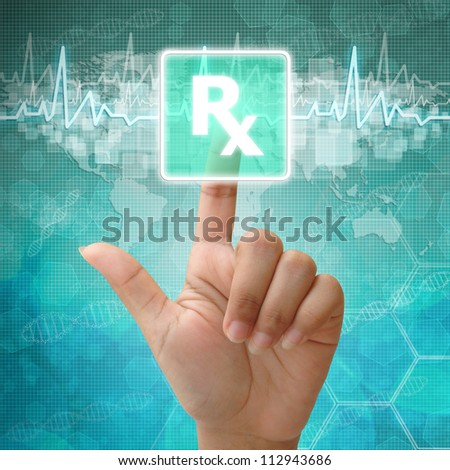 Hand press on Prescription Symbol ,medical background - stock photo