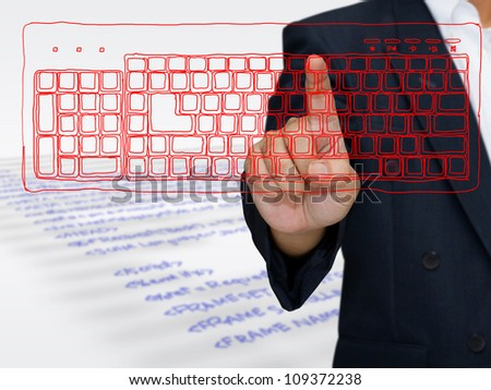 Hand press on sketching computer keyboard