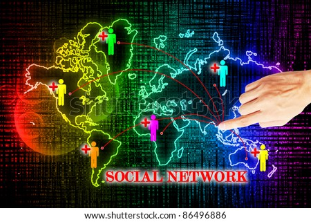 Hand press on social network search engines - stock photo