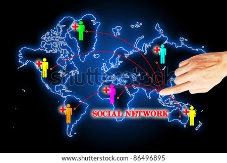 Hand press on social network search engines