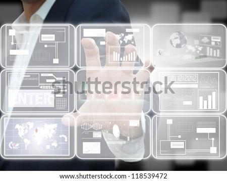 Hand press screen - stock photo