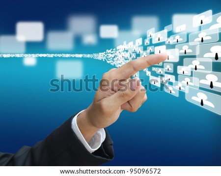 Hand press social network - stock photo