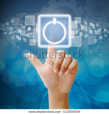 Hand press touch the Power icon - stock photo
