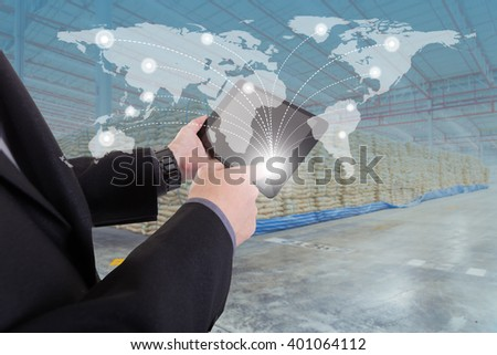 hand presses on world map with digital tablet,Business success strategy distribution product plan with warehouse background  (Elements of this image furnished by NASA) - stock photo