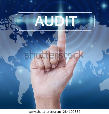 hand pressing audit word button. business concept - stock photo