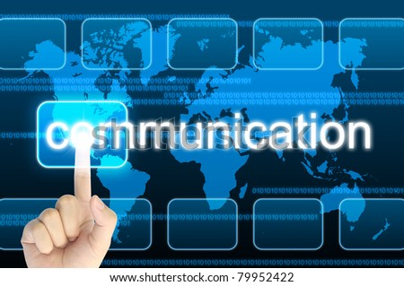 hand pressing communication button on a touch screen interface - stock photo