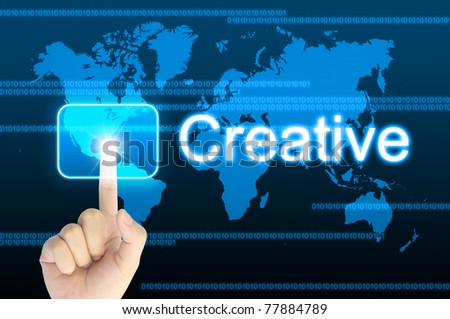 hand pressing creative button on a touch screen interface - stock photo