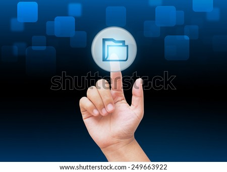 Hand pressing document buttons with technology background  - stock photo