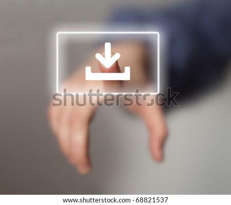 hand pressing DOWNLOAD button, futuristic technology - stock photo