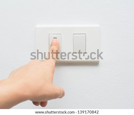 Hand pressing electronic-light switch