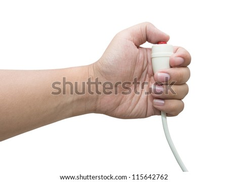 Hand pressing emergency nurse call button, isolated white background - stock photo