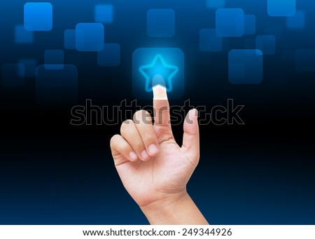 Hand pressing favorite buttons with technology background  - stock photo
