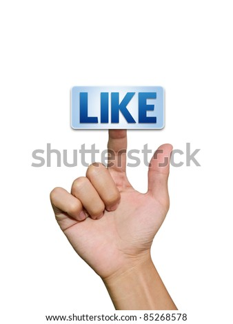 Hand pressing Like button isolated on white background - stock photo