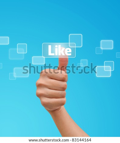 Hand pressing Like button on the flow of buttons - stock photo