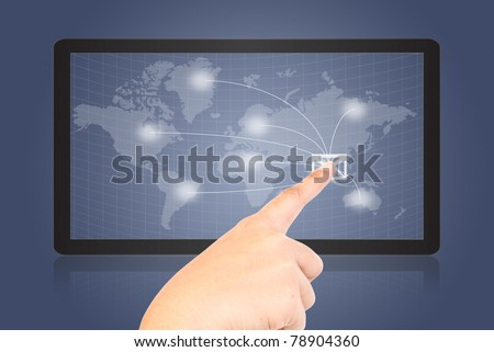 Hand pressing mail on touchpad world wide communication.
