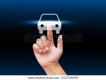 Hand pressing new car  symbol - stock photo