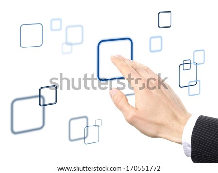 hand pressing of one of the different button on a virtual surface, solution concept - stock photo