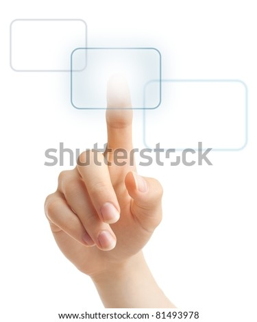 Hand pressing one of three possible virtual buttons on futuristic holographic screen. - stock photo