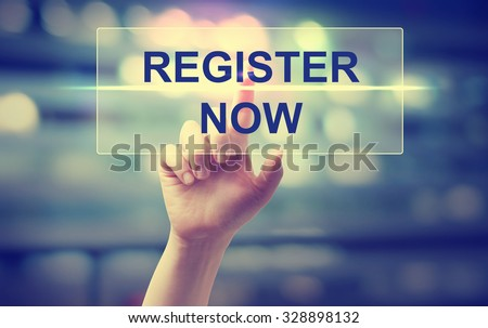 Hand pressing Register Now on blurred cityscape background  - stock photo
