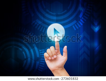 Hand pressing Selection buttons with technology background  - stock photo