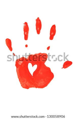 Hand print in red isolated on white background. - stock photo