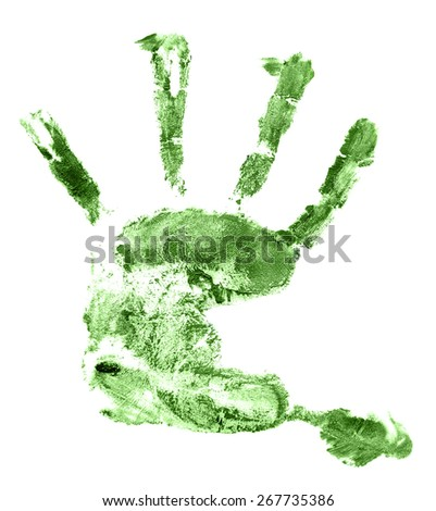 hand print  isolated on white background. orange palm, watercolor - stock photo