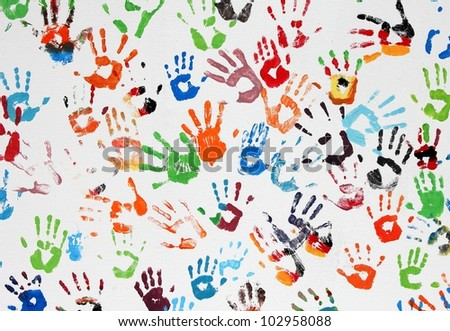hand prints on white background