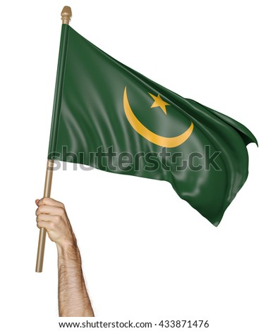 Hand proudly waving the national flag of Mauritania, 3D rendering - stock photo