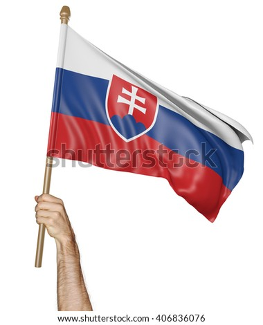 Hand proudly waving the national flag of Slovakia, 3D rendering - stock photo