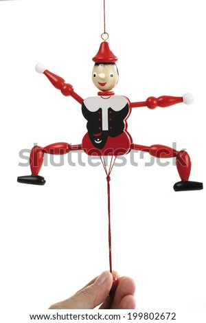 Hand pulling band of jumping jack - stock photo