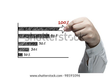 Hand pulling graph isolated on white background - stock photo