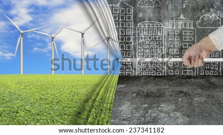 hand pulling open wind turbines curtain covering gray cityscape doodles concrete wall background, environmental protection and alternative energy concept - stock photo