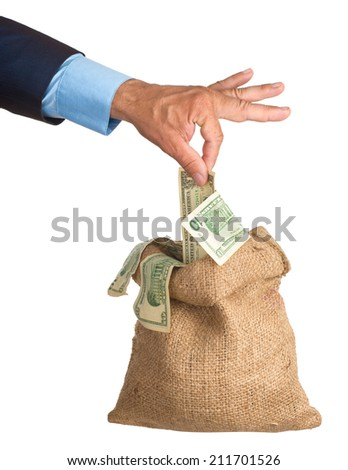 Hand pulls money out of the bag. isolated. eries of images. - stock photo